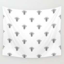 Linocut bee minimal nature insect printmaking black and white bees wasps Wall Tapestry
