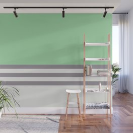 Pastel Green, Gray & Linen White Straight Stripes Pattern - 2020 Color of the Year Neo Mint Wall Mural