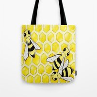 """bees Tote Bags featuring """"Bees"""" by Nicole Jolley"""