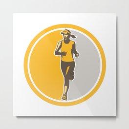 Female Triathlete Marathon Runner Circle Retro Metal Print