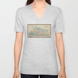 Vintage Map of Peoria IL (1876) Unisex V-Neck