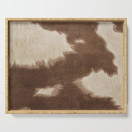Cowhide Brown and White Serving Tray