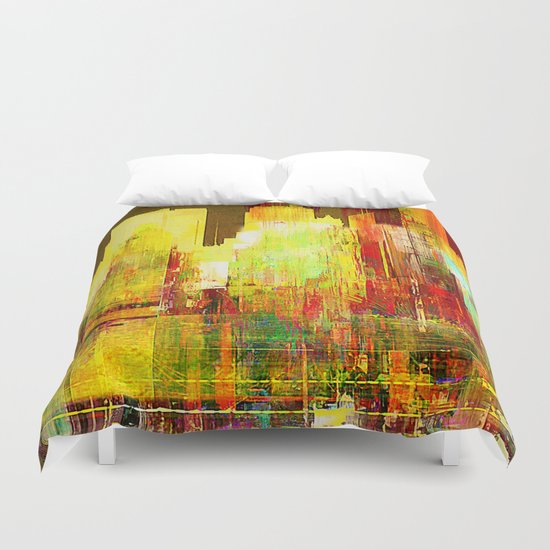 Reflection of a city Duvet Cover