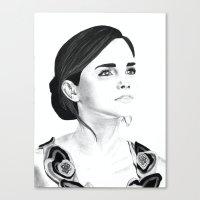 emma watson Canvas Prints featuring Emma Watson by Moira Sweeney