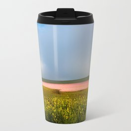 Land of Plenty- Field of Pink and Yellow Flowers in Nebraska Travel Mug
