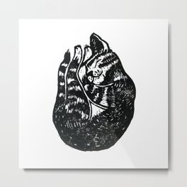 Sleeping Cat - Lino Metal Print