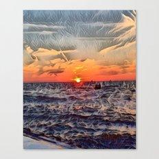 Lake Michigan Romantic Sunset Canvas Print