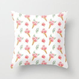 Floral Cones Pattern Throw Pillow