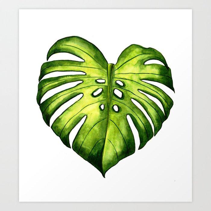 Monstera leaf in watercolor Kunstdrucke