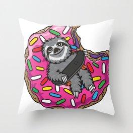Sloth Skate Donut Throw Pillow