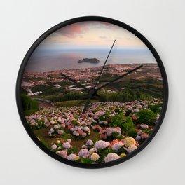 Azorean town at sunset Wall Clock