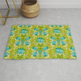 Turquoise and Green Leaves 1960s Retro Vintage Pattern Rug