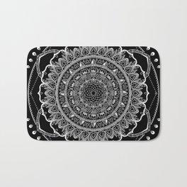 Black and White Geometric Mandala Bath Mat