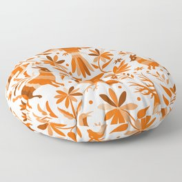 Mexican Otomí Design in Orange Color Floor Pillow