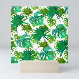 Abstract hand painted forest green watercolor tropical leaves Mini Art Print