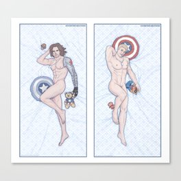 Steve and Bucky Heroic Nude Pinups Canvas Print