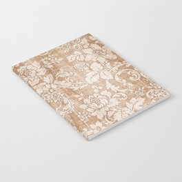 Vintage white brown grunge shabby floral Notebook