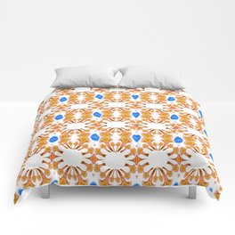 Lush Geometry Series Golden Floral with Sapphire Accent Comforters