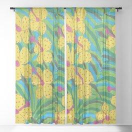 Sunshine Tropical Hibiscus Print Sheer Curtain