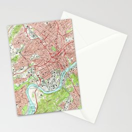 Vintage Map of Knoxville Tennessee (1966) Stationery Cards