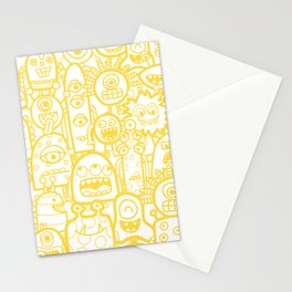 Cute Monsters White Yellow Pattern Stationery Cards