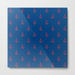 Blue & Red Anchors Pattern Metal Print