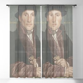 Vintage Tudor portrait Hans Holbain Sheer Curtain