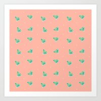 Diamonds & dots Art Print