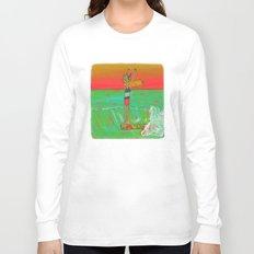 Hang 10 Lady Slider Surfer Girl Long Sleeve T-shirt