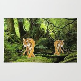 Tigers in the Woods Rug