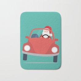 Santa Claus coming to you on his Car Sleigh Bath Mat