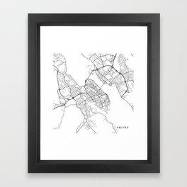 Halifax Map, Canada - Black and White Framed Art Print