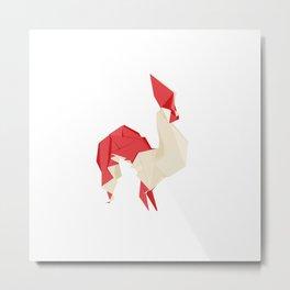 Origami Rooster Metal Print