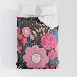 Pretty girly pink Floral Silver Dots Gray design Comforters