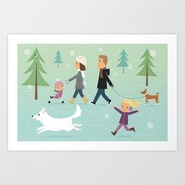 Promenade en famille Art Print
