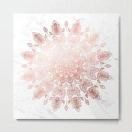 Dancing Mandala Rose Gold Metal Print