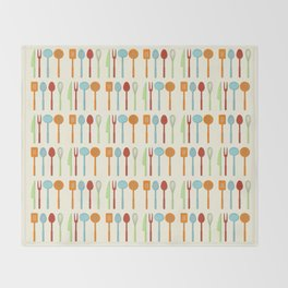 Kitchen Utensil Colored Silhouettes on Cream Throw Blanket