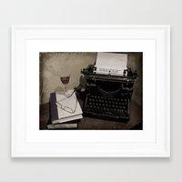 hemingway Framed Art Prints featuring Hemingway by planejane