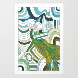 Textured Elepahnt Art Print