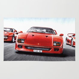 RED FLAGSHIP CARS RUNNING Rug