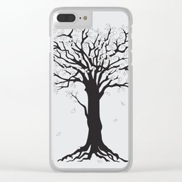 silver tree on the gray Clear iPhone Case