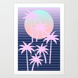 Hello Miami Moonlight Art Print