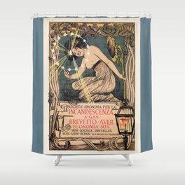Italian art nouveau street gas lighting ad Shower Curtain
