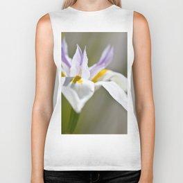 White Iris, close up - Botanical Photography Biker Tank