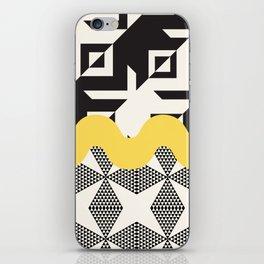 Geometric collage with yellow ribbon iPhone Skin