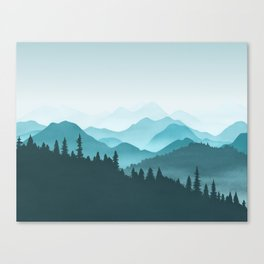 Teal Mountains Canvas Print