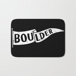 Boulder Colorado Pennant Flag B&W // University College Dorm Room Graphic Design Decor Black & White Bath Mat