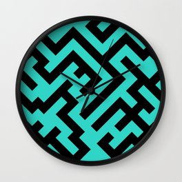 Black and Turquoise Diagonal Labyrinth Wall Clock