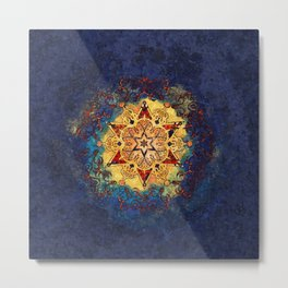 Star Shine in Gold and Blue Metal Print