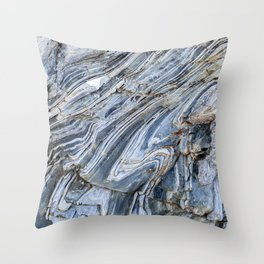 """Details of rock formations in blue and grey"""" for fine art mineral photo print.  Throw Pillow"""